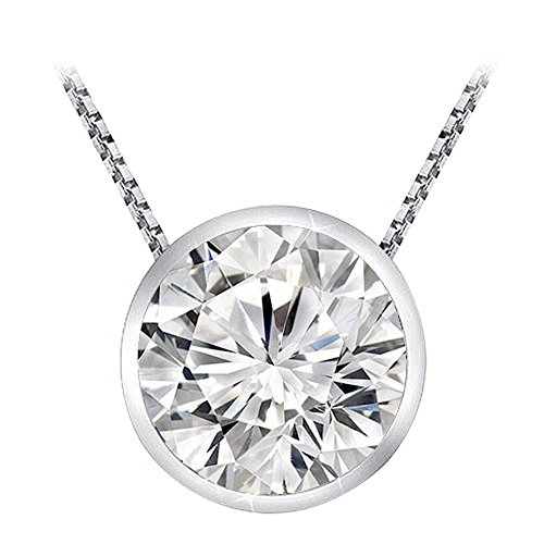 0.5 Carat 14K White Gold Round Diamond Bezel Solitaire Pendant Necklace H-I Color I2 Clarity