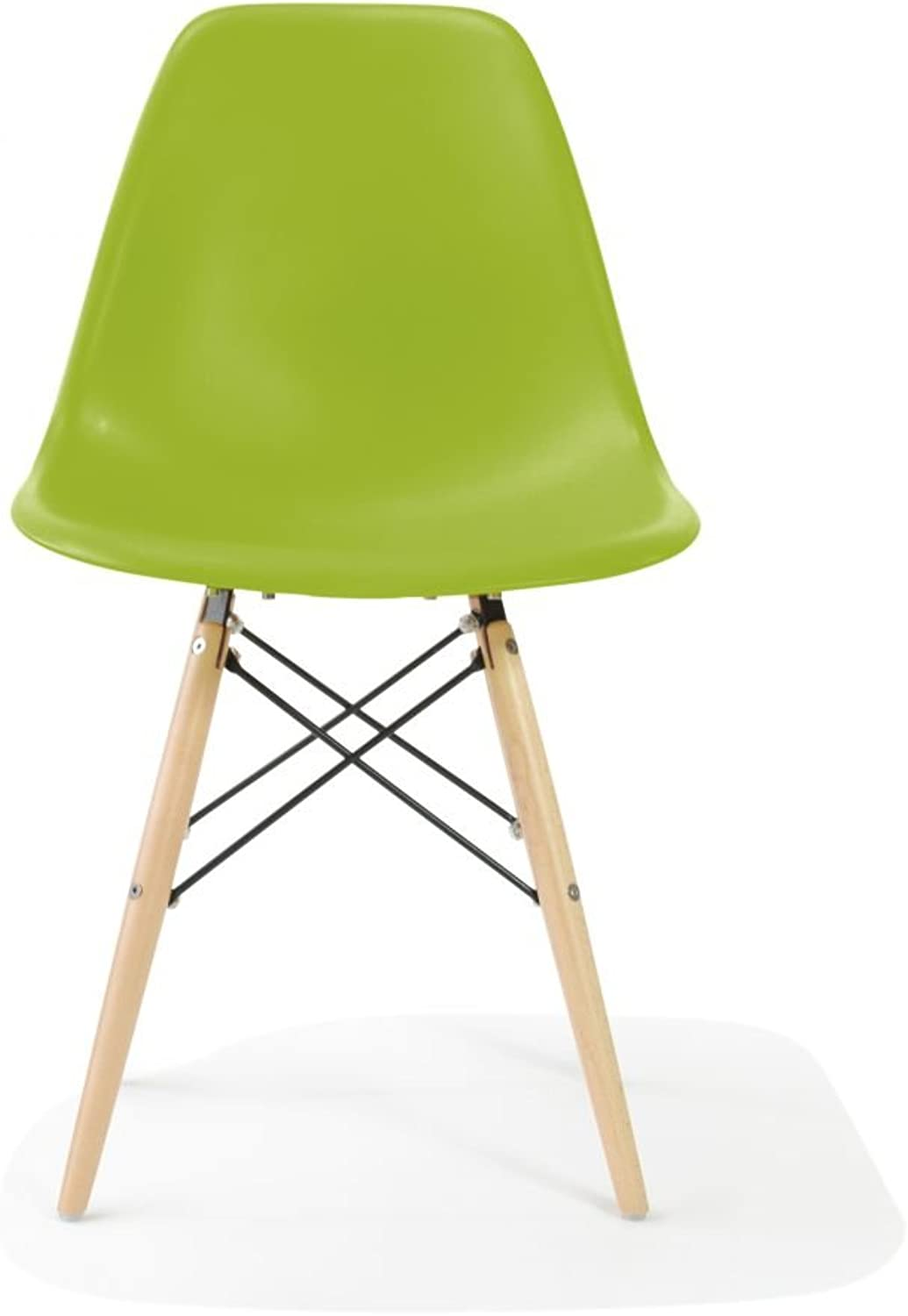 Nicer Furniture Eames Style Side Chair with Natural Wood Legs Eiffel Dining Room Chair - Set of 4 (Green)