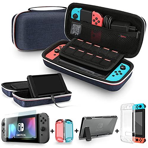 Bestico Kit de Accesorios para Nintendo Switch, incluye un Funda con Soporte para Nintendo Switch, 1 Cristal Templado Protector de Pantalla , Transparente Estuche Protector