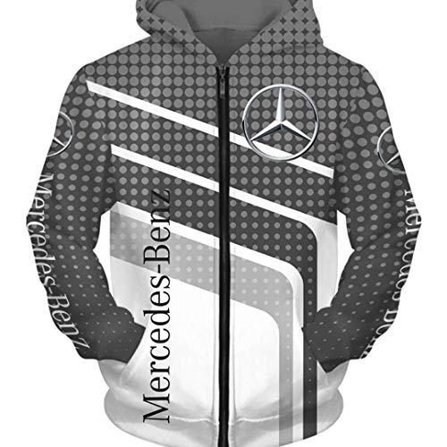 Axjzh Herren Langarm-Strickjacke Mit Rundem Ausschnitt Für Herbst/Winter 3D-Gedruckter Mercedes Benz Farbblock Dot Striped Hooded Zipper Sweater Einfache Lässige Atmungsaktive Sportswear