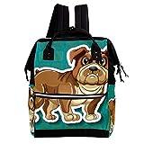 Comic-Hund 11 Wickeltasche Große Kapazität Wickelrucksack Multiple Pockets Mummy Bag Dual-Use Tragbare Handtasche für Reisen Baby Wickelunterlage Tote Bag 27x19.8x36.5cm