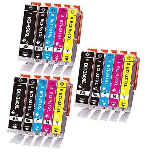 キャノン Canon 351 350 インクカートリッジ BCI-351XL+BCI-350XL 互換インク 15本セット (大容量/増量/残量検知/個別包装/) 【対応機種】Canonキヤノン PIXUS MG7530F, PIXUS MG7530, PIXUS MG7130, PIXUS MG6730, PIXUS MG6530, PIXUS MG6330, PIXUS MG5630, PIXUS MG5530, PIXUS MG5430, PIXUS MX923, PIXUS iP8730, PIXUS iP7230, PIXUS iX6830