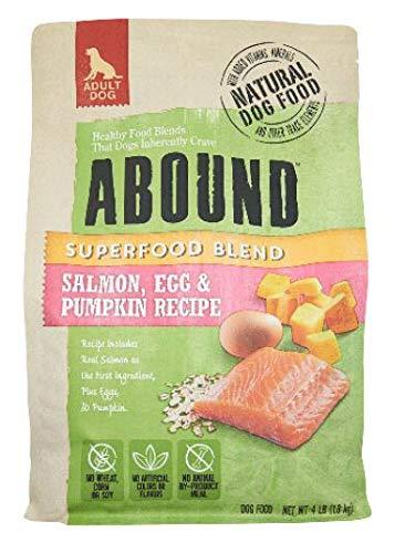 Abound Superfood Blend Natural Adult Dog Dry Food - Salmon, Egg & Pumpkin Recipe, 4 lb Bag