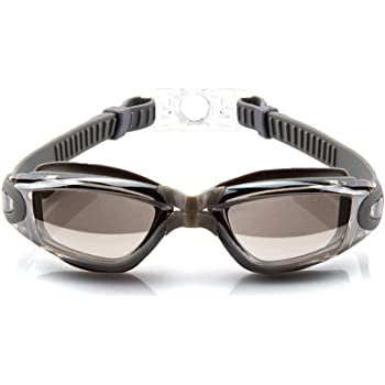AINAAN Swim Goggles, No Leaking Anti-Fog Indoor Outdoor Swimming Goggles with UV Protection Mirrored Clear Lenses for Adult Women Men Youth Kids(Plating Silver)