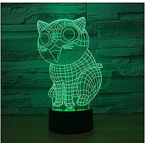 Lámpara de luz 3D 7 colores Cat model7 Color LED Office Work or Home Bedroom Mood Night Light-16 color remote control