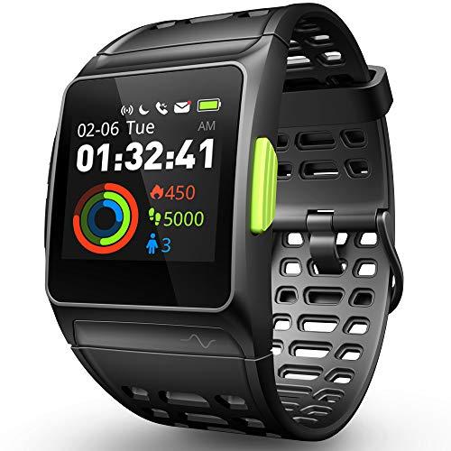 Reloj Inteligente Rastreador de Ejercicios, GPS Reloj Deportivo ECG/Fatiga/Dormir/Monitor de Ritmo Cardíaco IP68 Smart Watch, Notificaciones de Mensajes Pantalla Táctil Reloj para Android iOS