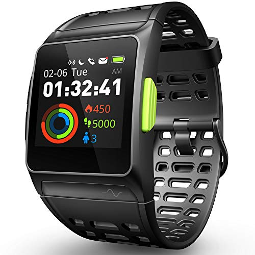 DR.VIVA GPS Smart Watch, Running Watch Herzfrequenz Monitor mit Multi-Sports Modus Farbe Touchscreen Nachricht Benachrichtigungen IP68 Wasserdicht Activity Tracker für Android und IOS. (Schwarz)