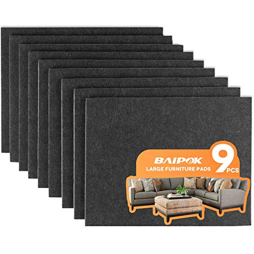 Furniture Pads 9 Pieces 8' x 6' x 1/5' Furniture Felt Pads Self Adhesive, Cuttable Felt Chair Pads, Anti Scratch Floor Protectors for Furniture Legs Hardwood Floor, Black