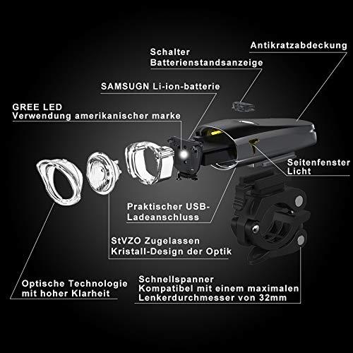 LIFEBEE LED Fahrradlicht, USB Fahrradbeleuchtung Fahrradlicht Vorne Rücklicht Set, Wasserdicht Fahrradlichter Set Fahrrad Licht Fahrradleuchtenset Fahrradlampe Frontlicht mit 2 Licht-Modi - 3