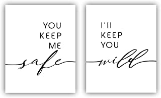 "HPNIUB You Keep Me Safe- I'll Keep You Mild Set of 2 (8""X10"" Couples Love Quote Wall Poster Romantic Minimalist Canvas Art Prints for Lover Bedroom, No Frame"