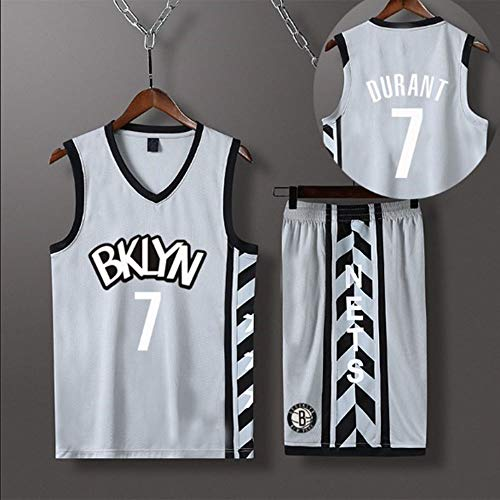 HS-XP Utilizado para Brooklyn Nets # 7 Kevin Durant NBA Fans Adult Chily Girls Ball Jerseys Kids Teen Sports Trajes De Camisa Vestir + Top Shorts Spright Settle Set,Gris,L(155.165cm)