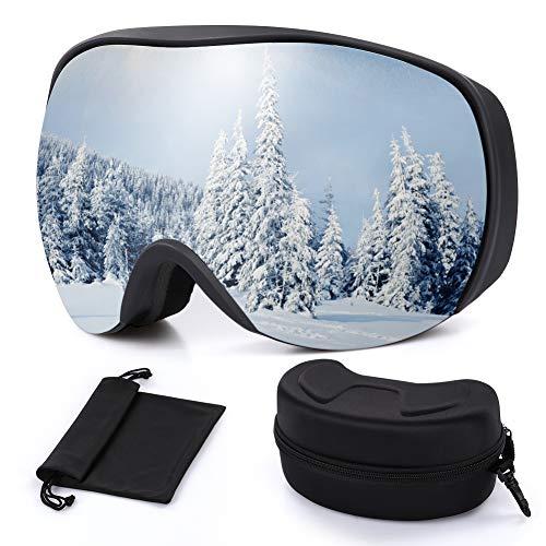 Outope Skibrille mit Anti-Nebel und UV400-Schutz, OTG Ski Snowboard Brille Dual-Linse für Damen und Herren, Snowboardbrille für Schneemobil-, Skifahren oder Skaten
