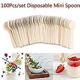 100Pcs Disposable Wooden Spoons Mini Ice Cream Tea Dessert Spoon Party Tableware