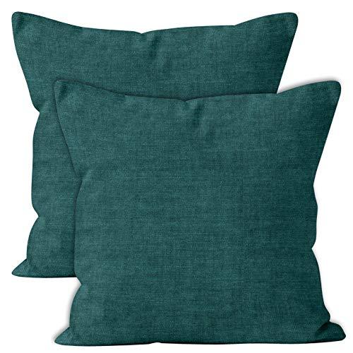 Encasa Homes Chenille Throw Cuscino Copri Cuscino 2 pz Set - Azzurro - 40 x 40 cm Tinta Unita, Morbido e Liscio, Cuscino con Accento per Divano, Sedia, Letto e Pavimento