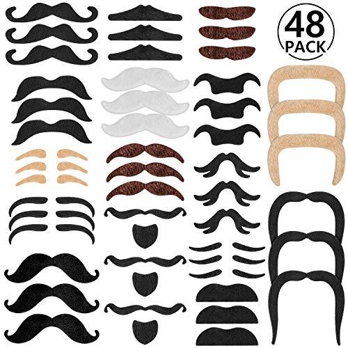 Rymall 48 pcs Bigotes Postizos Bigotes Autoadhesivos para Disfraz, DIY Photo Booth Fancy Dress Falso Tash Accessorios para el Partido, Boda, cumpleaños del Favor, de la graduación
