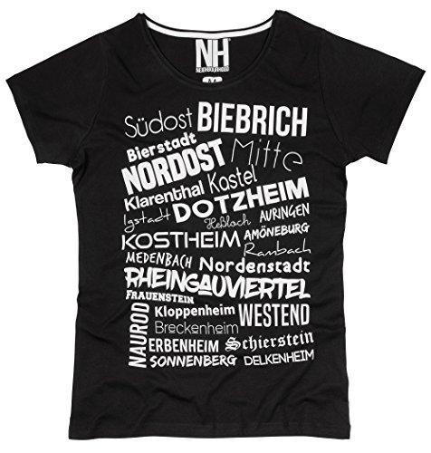 Wiesbaden Stadtteile Herren T-Shirt Rundhalsausschnitt Slim Fit Schwarz Weiß Größe XL