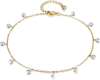 LOYATA Dainty Ankle Bracelet,14K Gold Plated Tiny Bead Anklet Dainty White Cubic Zirconia Cross Tassel Foot Chain Cute Lucky Moon Evil Eye Foot Jewelry Boho Anklets for Women