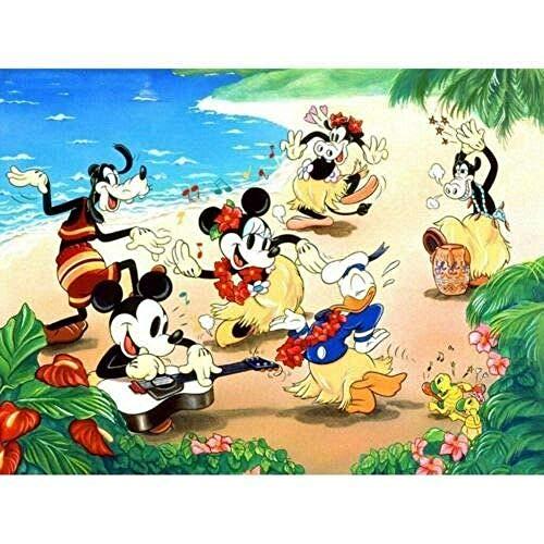 AItmp Pintura de Diamante 5D, decoración de Bordado Completo, Manualidades, Kits de Punto de Cruz, Mickey Mouse Bailando, 40 x 50 cm