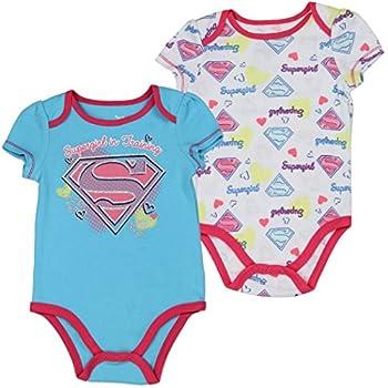 Supergirl Infant Baby Girls  Supergirl in Training  Creeper Onesie Bodysuit 2-Pack  3-6 mo  Blue / Pink