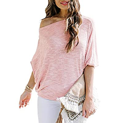 Foshow Womens Off Shoulder Batwing Long Sleeve ...