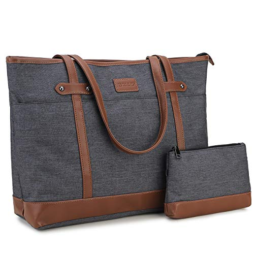 Laptop Tote Bag, RAVUO Water Resistant Lightweight Women 15.6 Inch Laptop Work Bag Teacher Bag Carry On Shoulder Bag with Padded Laptop Compartment.