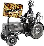 BRUBAKER XXL Porte-bouteille 'Tracteur' - Sculpture en Métal - Argent - avec Carte-cadeau