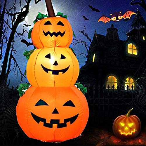 EnweNge Halloween Inflatable Stacked Pumpkins, Self-Inflated Pumpkin Decoration with Build-in LED Inflatables Toy for Halloween Party Indoor, Outdoor, Yard, Garden