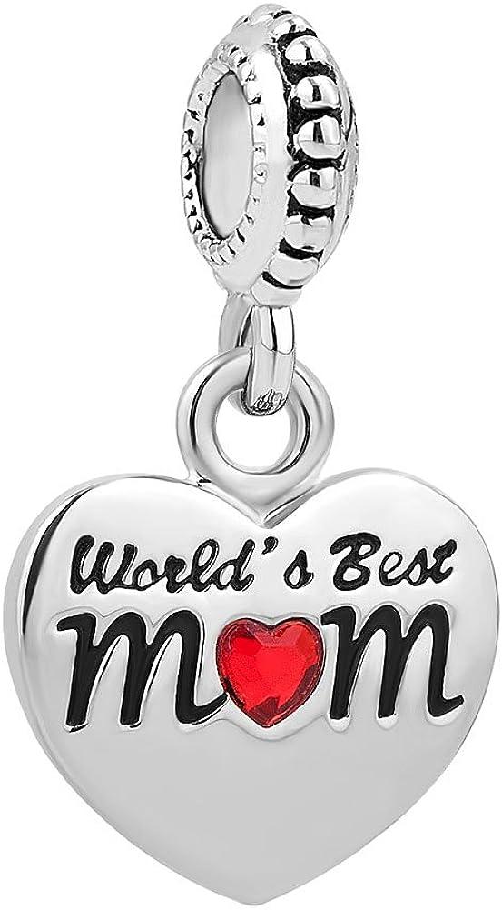 ShinyJewelry World's Best Mom Heart Love Charm Dangle Bead for Bracelet