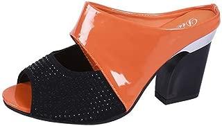 Cosplay-X Women's Slip-On Peep Toe Sandals Summer Backless Chunky Stacked Block Heel Mule