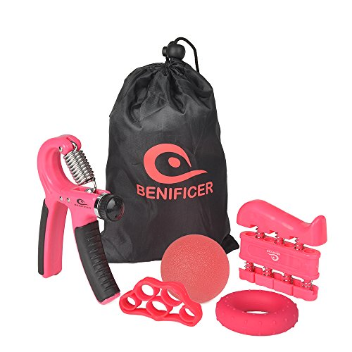 Benificer Hand Grip Strengthener 5 Pack Adjustable Grip Exerciser, Finger Stretcher Resistance Extensor Bands, Finger Strength Trainer, Hand Squeeze Ball & Exercise Ring for Finger Rehab (Black)