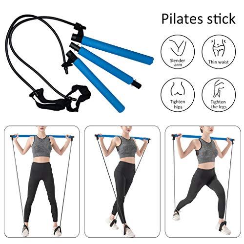 Pahajim Dreiteiliger Pilates-Steg mit langem Widerstandsband Expander-Fußschlaufe für Mädchen Frau Pilates-Steg-Satz Übungsausrüstung für Heim-Yoga, Stretch, Sit-up (Blau-3 Sections)
