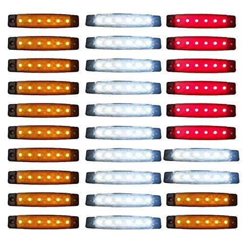 Voiture côté lumière, 24 V Premium 30 pcs Rouge Blanc Jaune Indicateur Side Marker lumière
