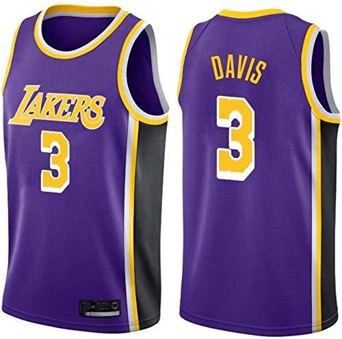 ZSPSHOP Camiseta de baloncesto de los Angeles Lakers No.3 Davis de la NBA para hombre, transpirable, bordada, color morado, talla XXXL
