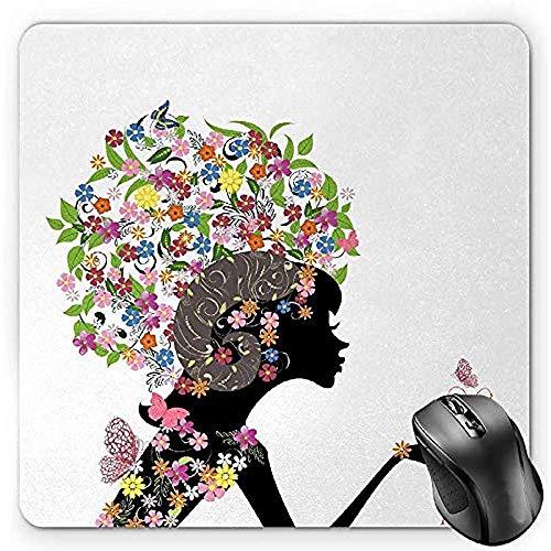 Muispad, Mode Meisje Ram Vrouw met Hoorns Bloemen Jurk Levendig Bloeit Vlinders, Mousepad,