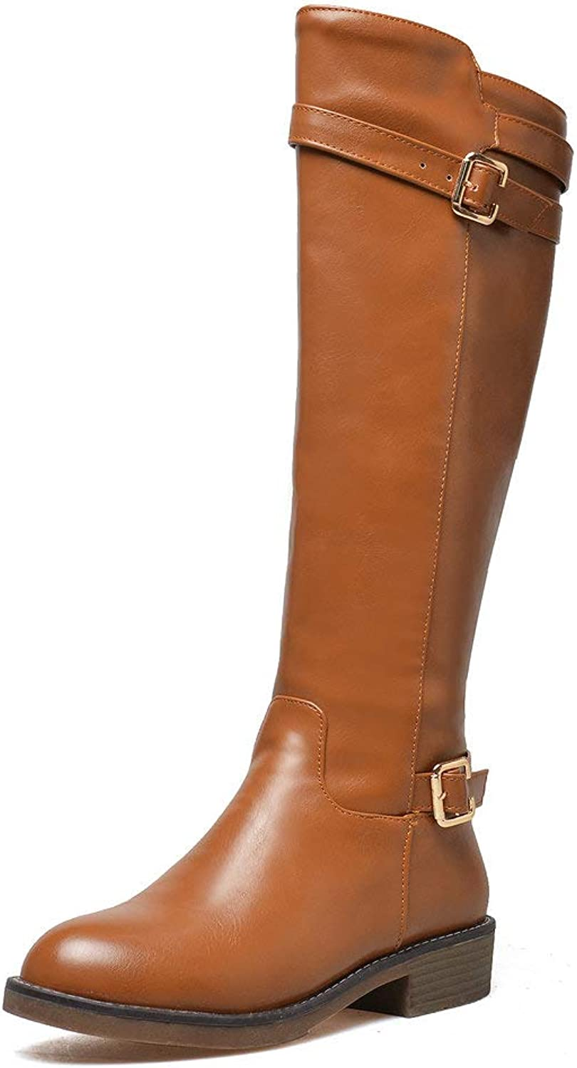 Women Fashion Casual Knee High Riding Boot Leather Buckle Strap Side Zipper Chunky Low Heel Motorcycle Boots