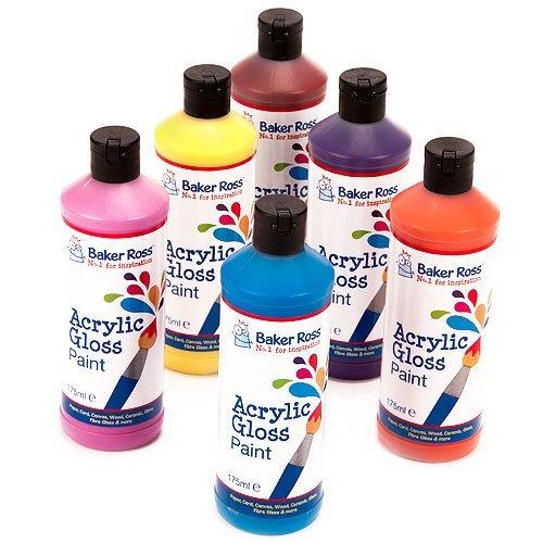 Baker Ross Acrylfarben in klassischen Tönen, für Kinder Kunsthandwerk und Malerei (Packung mit 6 x 175 ml)