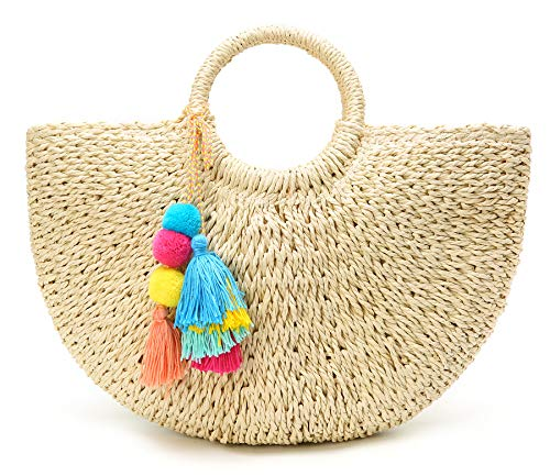 (50% OFF Coupon) Large Straw Handwoven Beach Tote $14.49