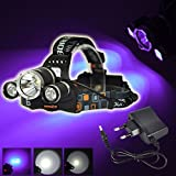 BESTSUN UV-Ultraviolet LED Blacklight Tactical Headlamp (1x Cree T6 White LED and 2 x UV LEDs) 4 Modes 395-410nm 18650 Rechargeable Leak detector and Cat-Dog-Pet Urine Detector (Battery not included)