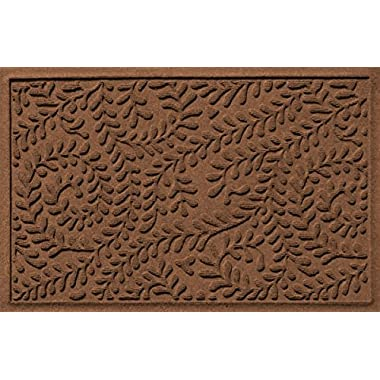 Bungalow Flooring Waterhog Doormat, 2' x 3', Skid Resistant, Easy to Clean, Catches Water and Debris, Boxwood Collection, Dark Brown