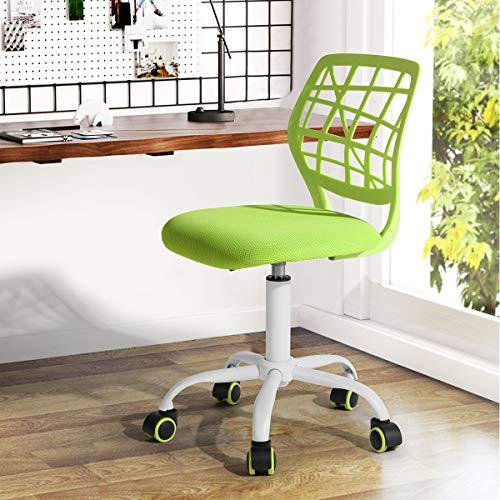 Fanilife - Sedia da ufficio, per scrivania, con design regolabile, sedia da computer e studio per bambini, girevole, senza braccioli, verde Verde
