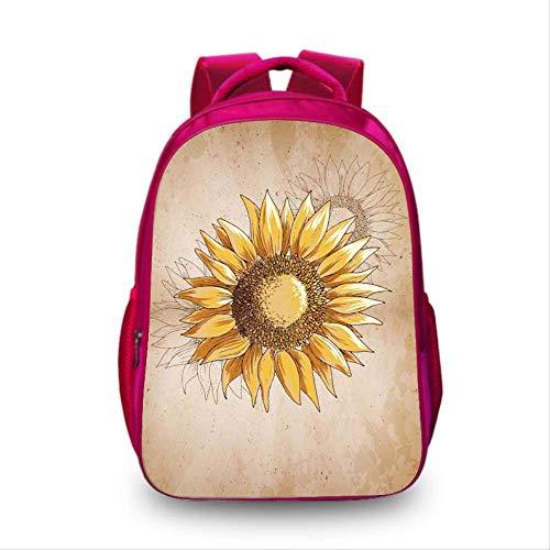 Sonnenblumen & Waben 3D Rucksack, Cute Fashion School Handgepäck Schultern Taschen, Teen Girls Laptop Casual Printed Rucksäcke EIN