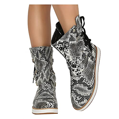 Hbeylia Women's Platform Ankle Booties Leopard Design Punk Goth Suede Round Toe Chunky Wedge Bottom Low Heels Lace Up Wide Mid Calf Riding Boots Winter Fall Short Dress Boots Shoes For Women Ladies