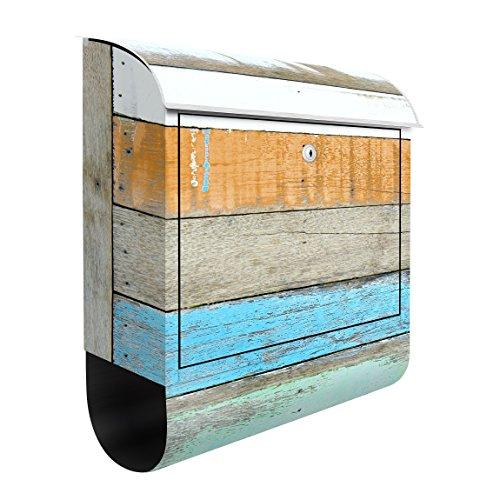 Design Briefkasten Maritimes Küstenflair 39x46x13cm Motiv Bretter Holz, Postkasten mit Zeitungsrolle, Wandbriefkasten, Mailbox, Letterbox, Briefkastenanlage, Dekorfolie, Größe: 46cm x 39cm