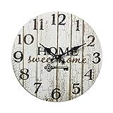 Rebecca Mobili Reloj Decorativo, Relojes de Pared,hogar Dulce hogar, Estilo Shabby, Madera Blanca - Medidas Ø 33,8 cm x P 4 cm (AxANxF) - Art. RE6151