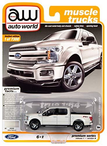 2018 Ford F-150 Lariat Pickup Truck White Platinum Metallic Muscle Trucks Limited Edition 7300 pcs 1/64 Diecast Model Car Autoworld 64242/ AWSP032 B