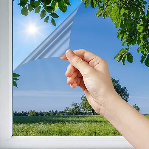 Dimexact Película Solar Anti Calor para Ventana y Acristalamientos, Colocación Interior Cristal Inferior a 1,2 Metros Cuadrados, Plata – 63% de Rechazo Solar, Anchura hasta 1,52 m, en Rollo