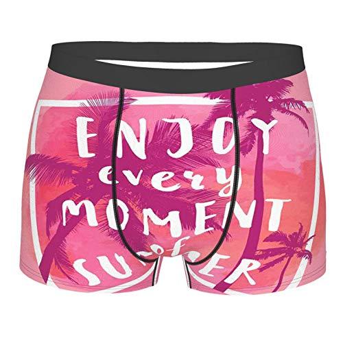 MANISENG Männerunterwäsche,Genießen Sie jeden Moment des Sommers mit Palm Trees Square Frame und Aquarell Circle, Boxershorts Atmungsaktive Komfortunterhose Größe XL