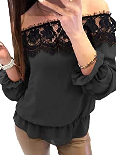 TT WARE Women Off Shoulder Long Sleeve Lace Patchwork Blouse-Black-4