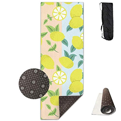 Bikini bag Yoga Mat Non Slip Yellow Fruit Printed 24 X 71 Inches Premium for Fitness Exercise Pilates with Carrying Strap