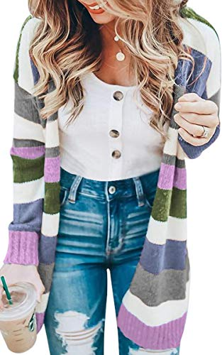 ECOWISH Womens Floral Striped Draped Kimono Cardigan Long Sleeve Open Front Casual Knit Sweaters Coat Purple Small